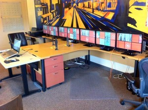 CES multi screen video wall  test set up at Mind Opera office