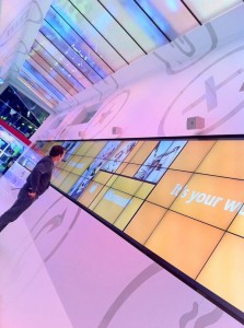Mind Opera multi-screen, wide screen wall for MIcrosoft at CES